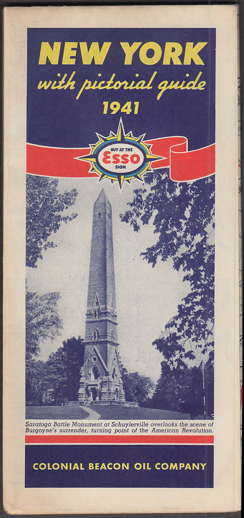 Esso Gasoline Colonial Beacon Oil Road Map New York State 1940