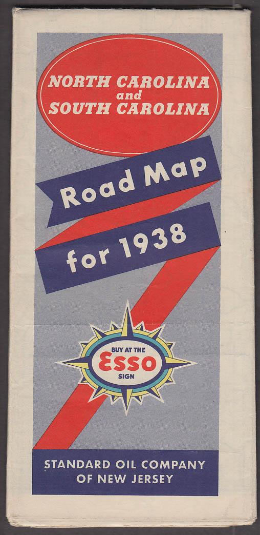 Esso Gasoline Road Map N & S Carolina 1938 Standard Oil of NJ