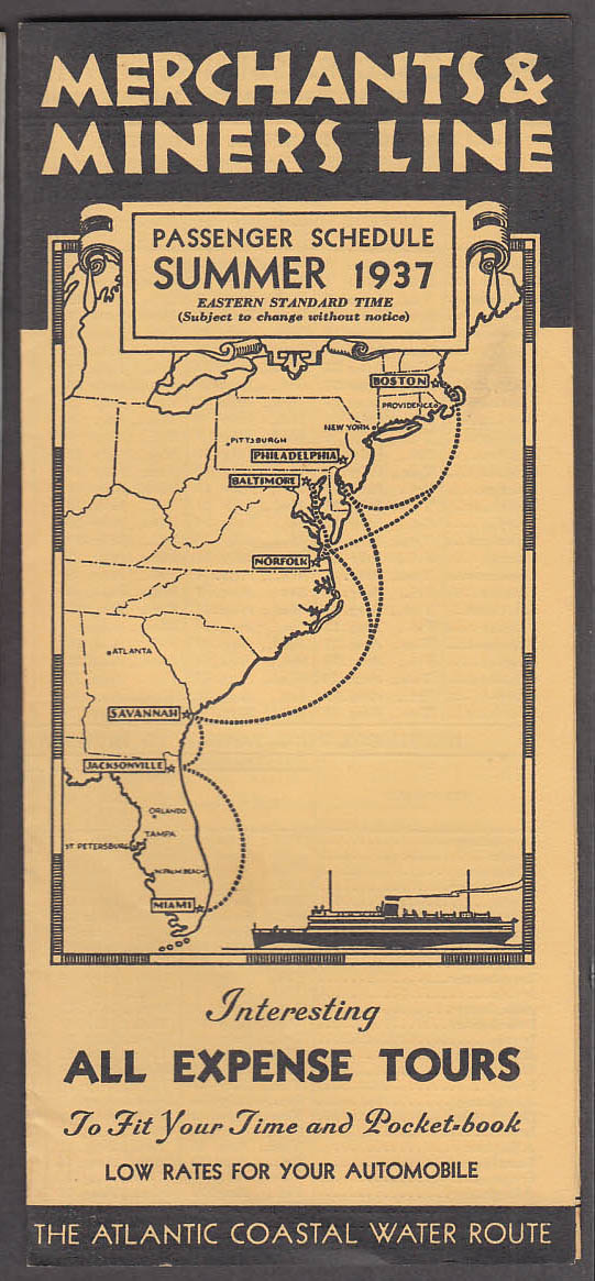 Image for Merchants & Miners Line Passenger Schedule steamship Summer 1937