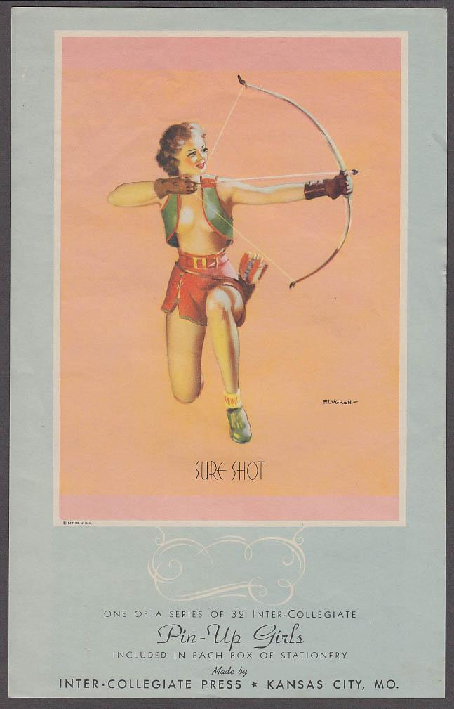 Image for Sure Shot! archer Elvgren pin-up sheet 1940s Inter-Collegiate Stationery insert