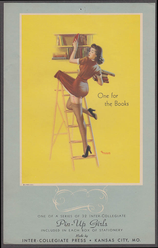 One for the Books Frahm pin-up sheet 1940s Inter-Collegiate Stationery insert