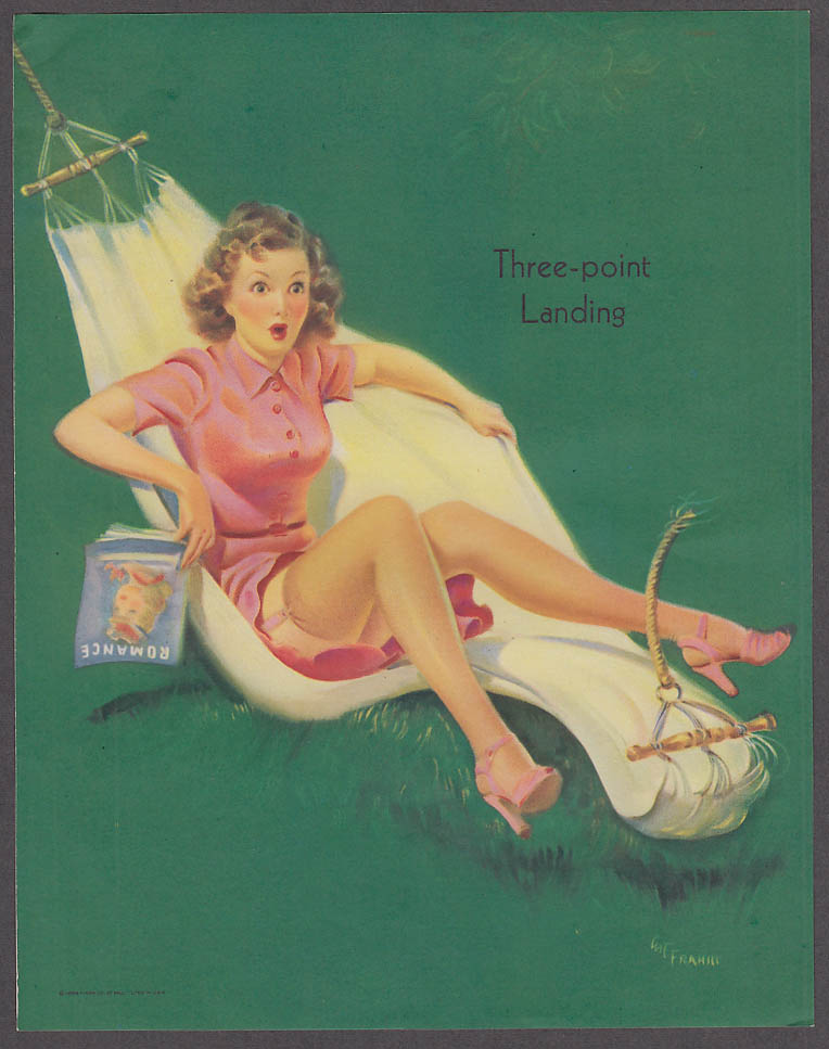 Three-point Landing hammock Art Frahm pin-up sheet 1940s Louis F Dow Co