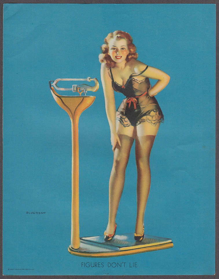 Image for Figures Don't Lie scale Elvgren pin-up sheet 1940s Louis F Dow Co