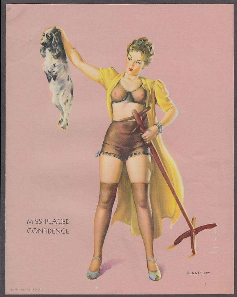 Image for Miss-Placed Confidence Elvgren pin-up sheet 1940s Louis F Dow Co