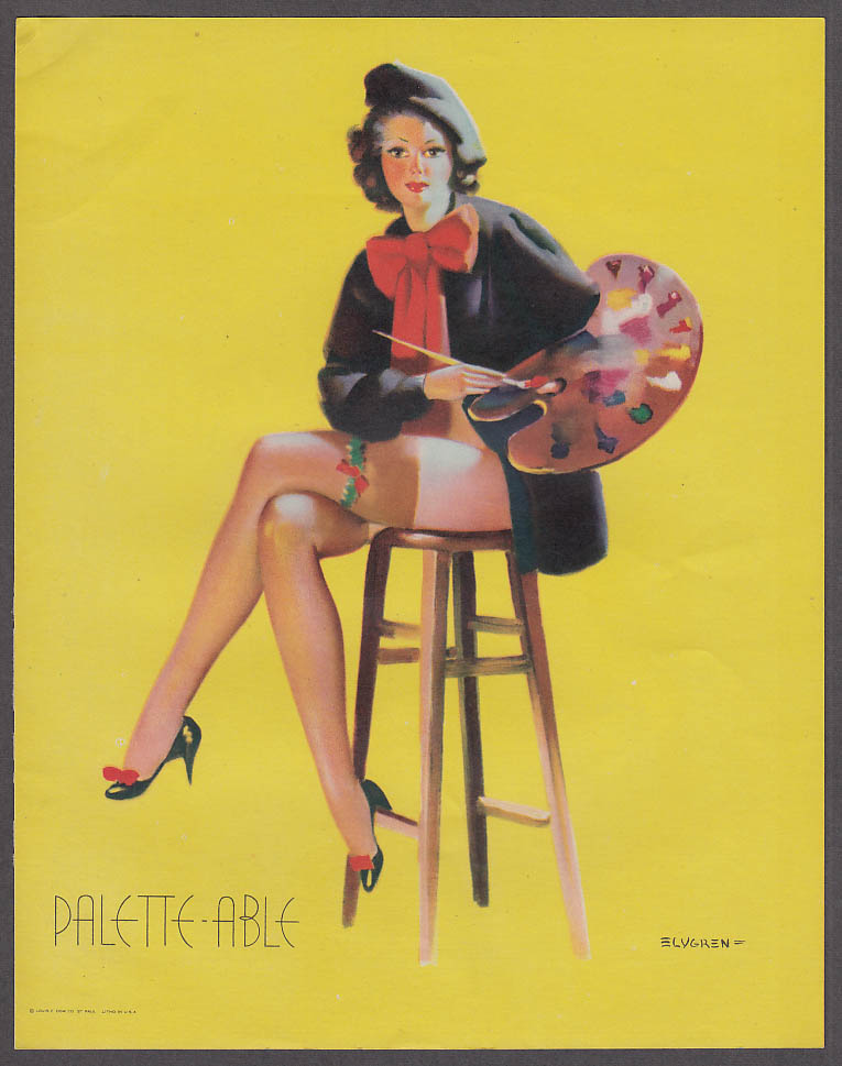 Image for Pallette-Able artist Elvgren pin-up sheet 1940s Louis F Dow Co