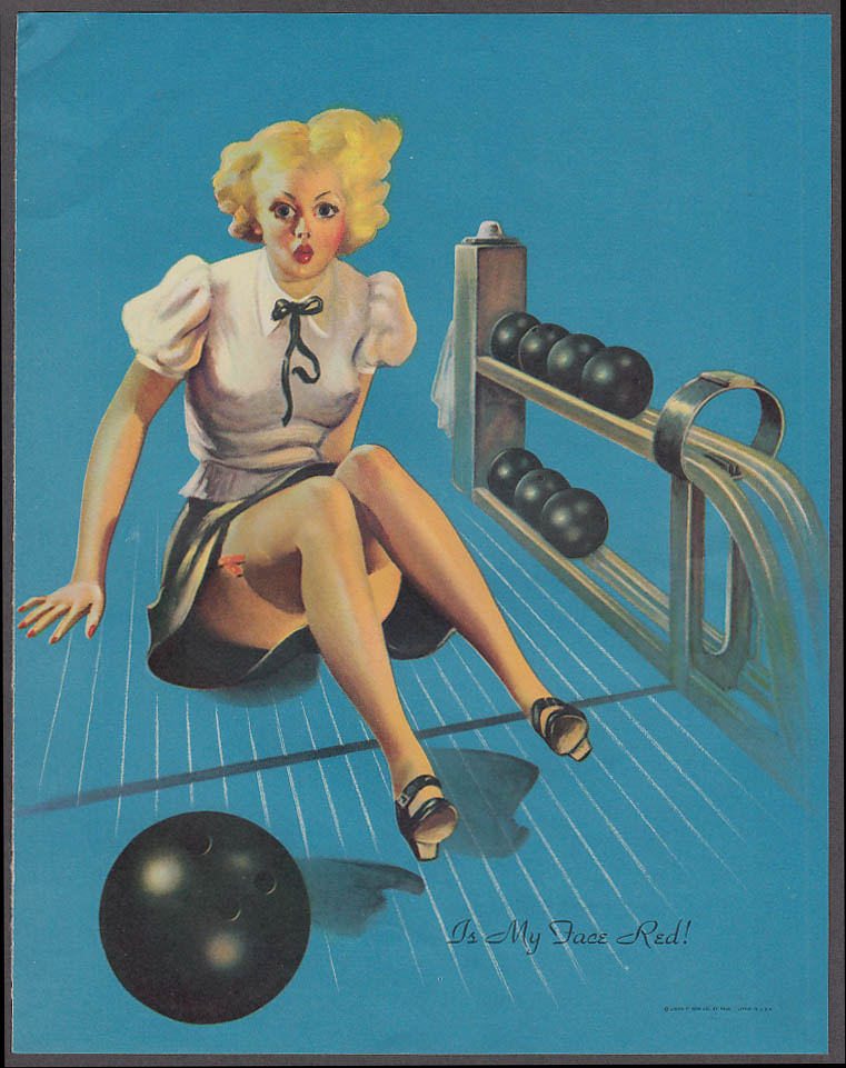 Image for Is My Face Red! Bowling Elvgren pin-up sheet 1940s Louis F Dow Co