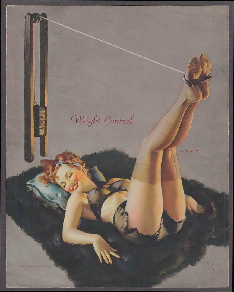 Image for Weight Control leg lifts Elvgren pin-up sheet 1940s Louis F Dow Co