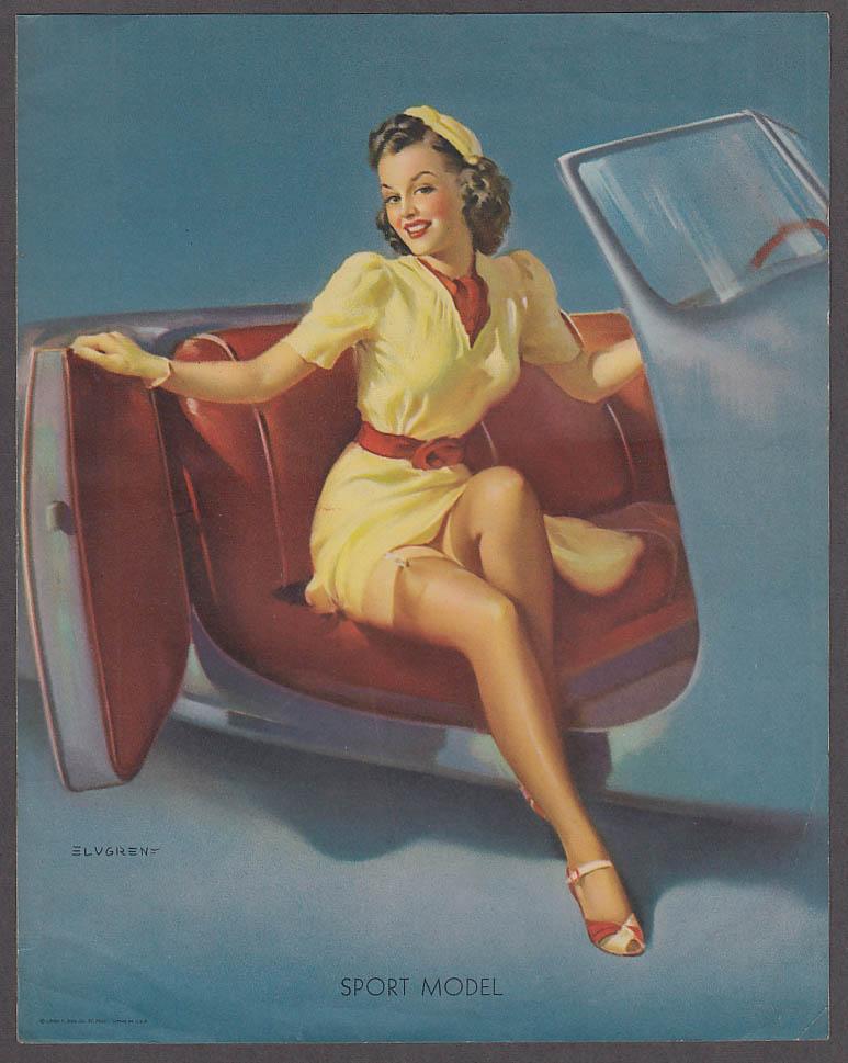 Image for Sport Model sportscar Elvgren pin-up sheet 1940s Louis F Dow Co