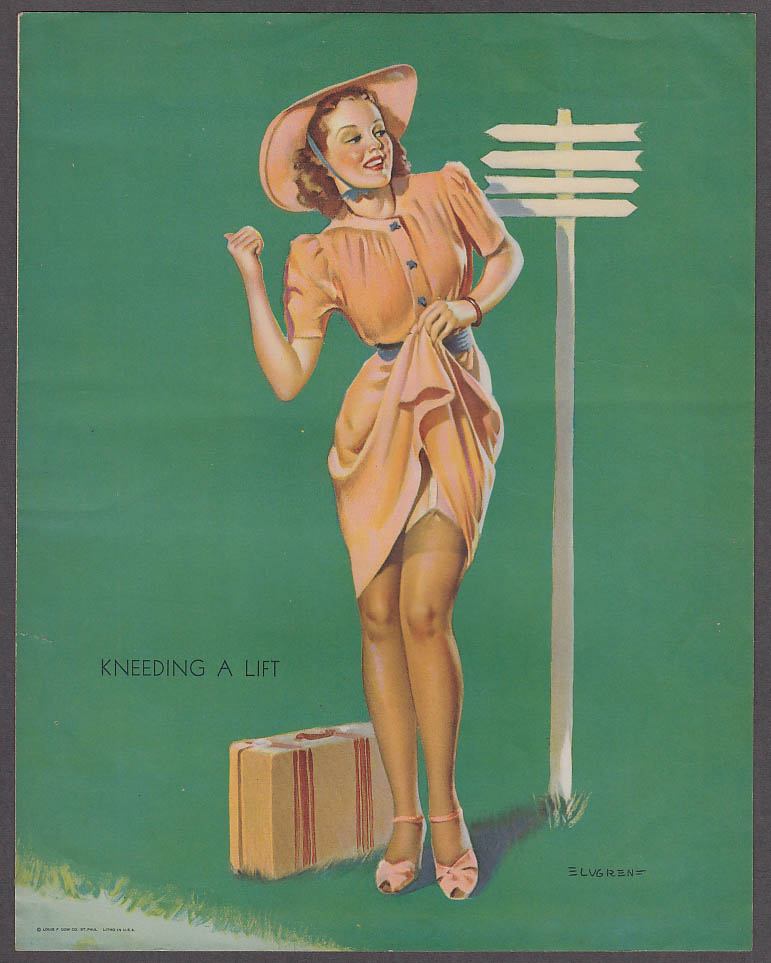 Image for Kneeding a Lift Elvgren pin-up sheet 1940s Louis F Dow Co