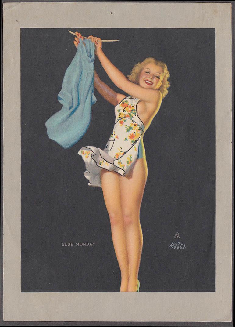 """Blue Monday Earl Moran pin-up sheet 1940s Louis F Dow Co 5x7"""""""