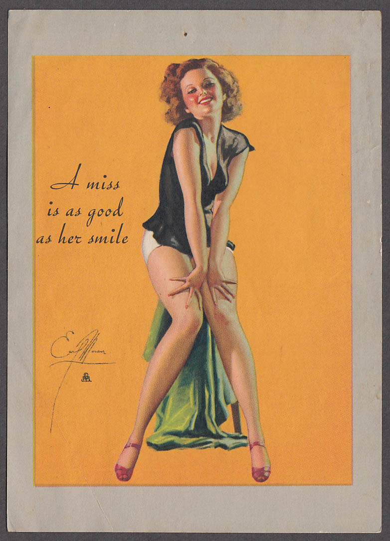 A miss is as good as her smile Earl Moran pin-up sheet 1940s Louis F Dow Co 5x7""