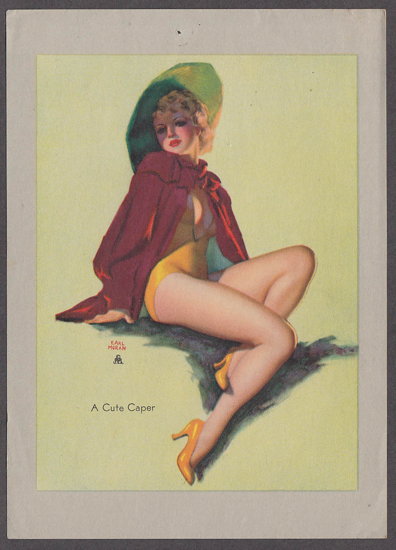 A Cute Caper Earl Moran pin-up sheet 1940s Louis F Dow Co 5x7""