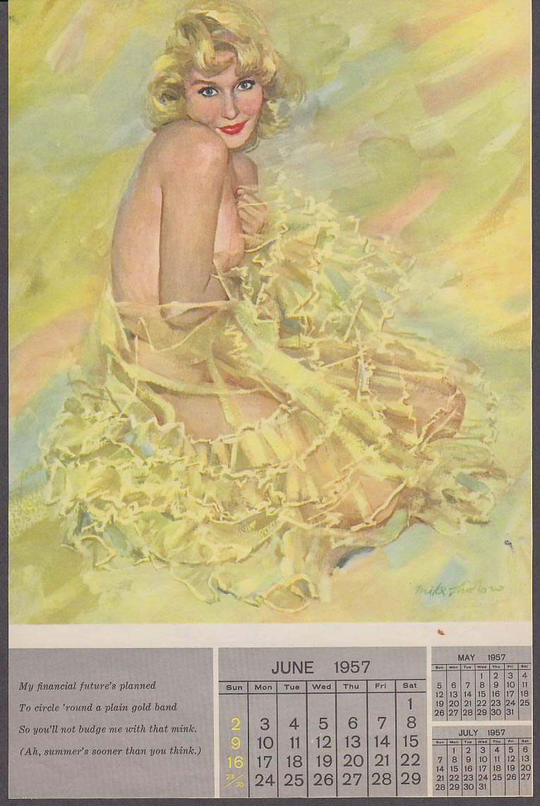 Image for My financial future planned Mike Ludlow pin-up calendar sheet 1957