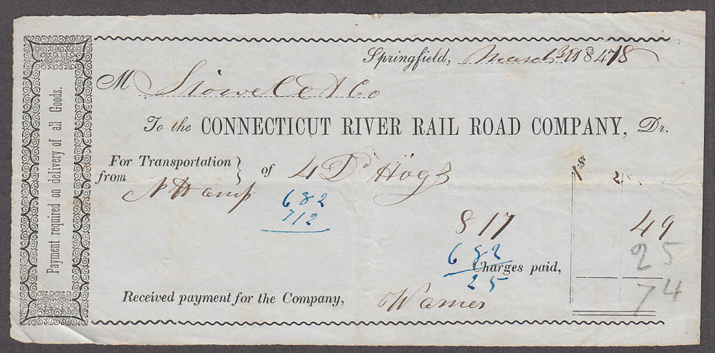 Image for Connecticut River Rail Road Company freight bill Springfield 1848