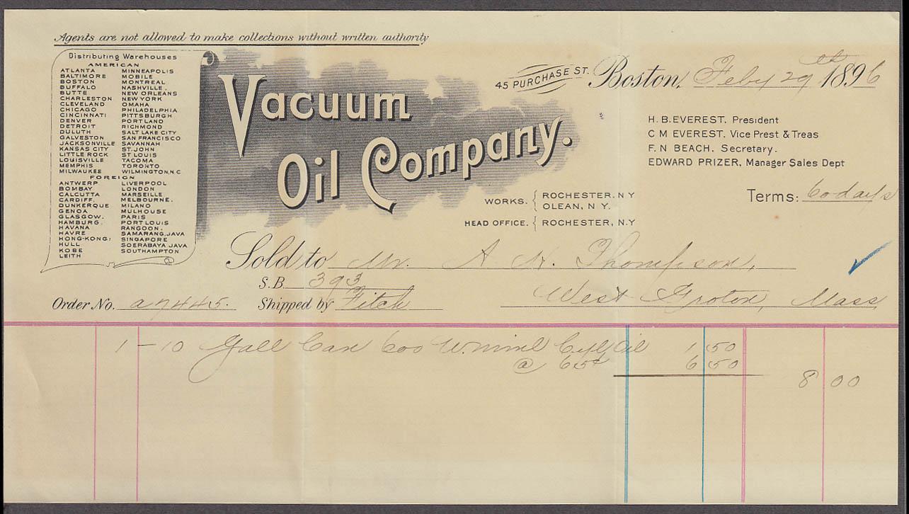 Image for Vacuum Oil Company invoice gas can Boston MA 1896
