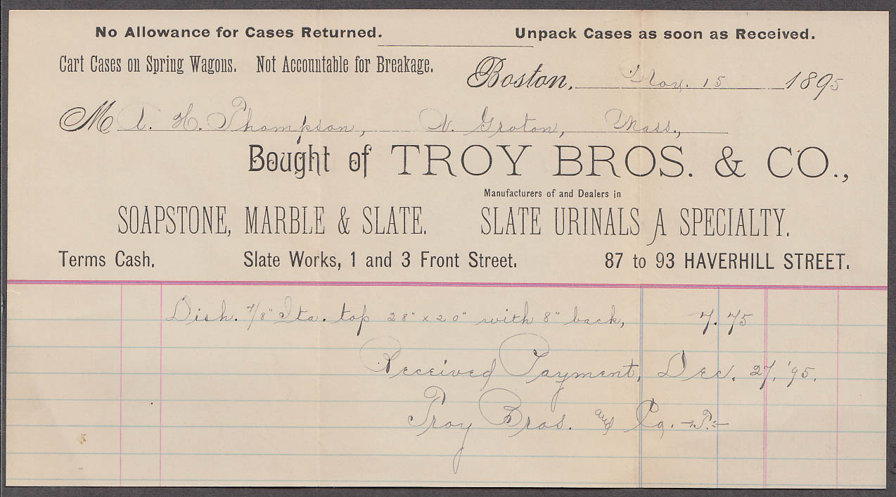 Image for Troy Bros & Co Soapstone Marble & Slate Urinals invoice Boston MA 1895