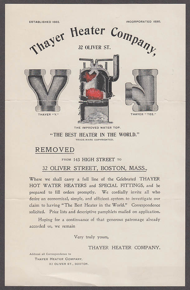 Image for Thayer Heater Company moving notice Boston MA 1890s