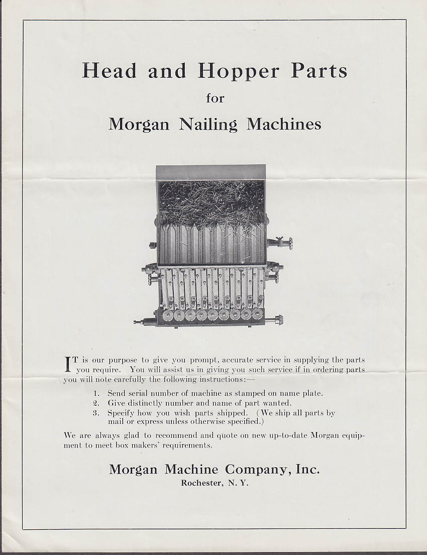 Morgan Nailing Machines Head & Hopper Parts folder 1926