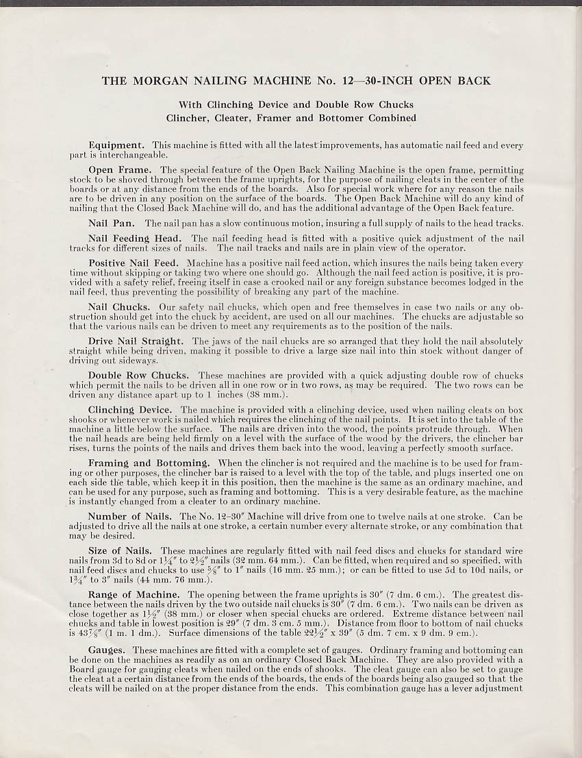 "Morgan Nailing Machine #12 30"" Open Back folder ca 1928"