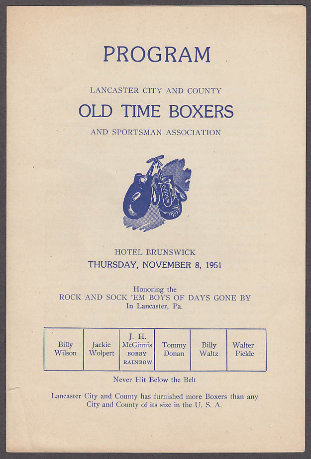 Image for Lancaster City & County Old Time Boxers program 1951 PA