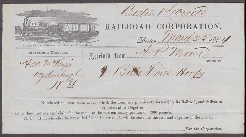 Image for Boston & Lowell Railroad Corporation freight receipt Boston 1864