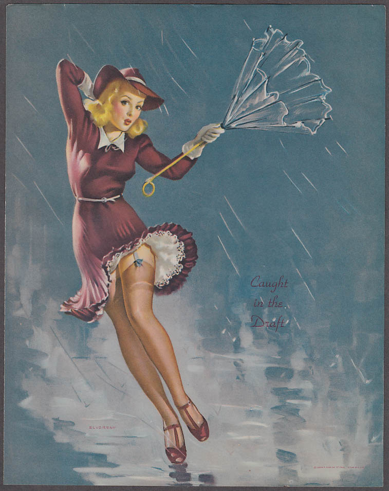 Caught in the Draft Elvgren pin-up sheet 1940s Louis F Dow Co