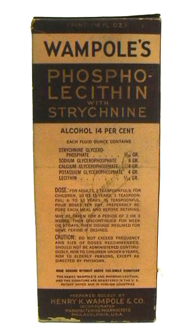 Image for Wampole's Phospho-Lecithin with Strychnine 1 pint bottle sealed in box ca 1930s