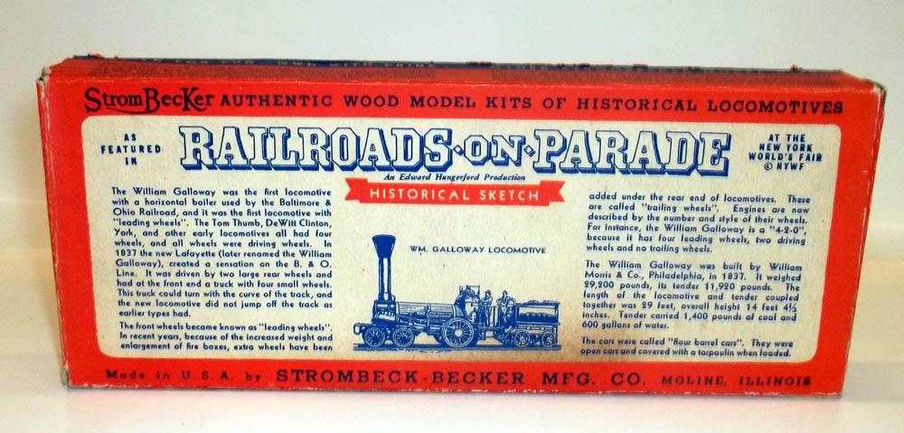 New York World's Fair Railroads on Parade Galloway Locomotive model kit BOX 1939