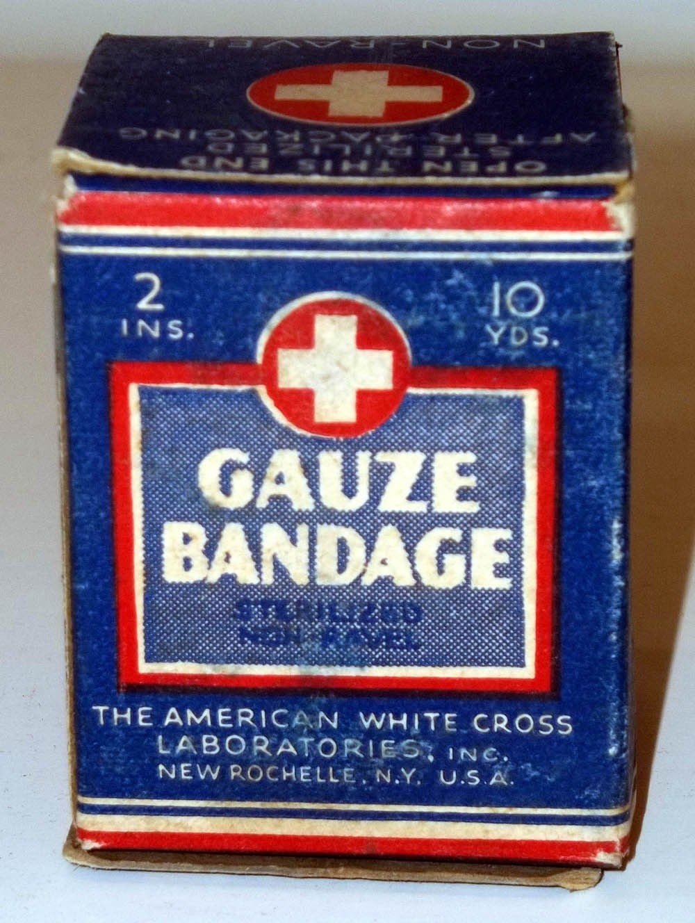 "American White Cross 2"" 10-yard Gauze Bandage in original carton unused"