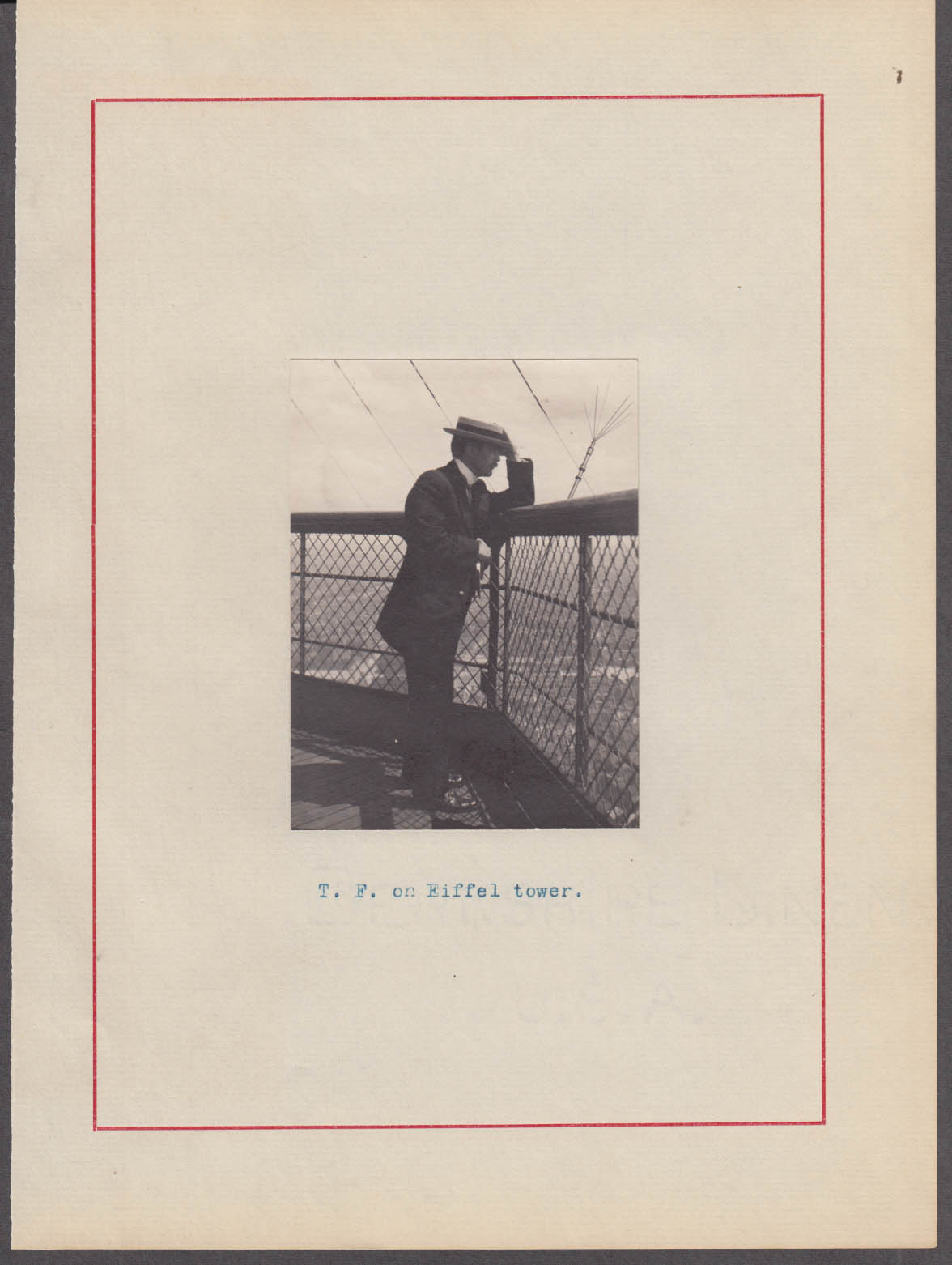 T Flint in boater atop Eiffel Tower Paris photograph ca 1913