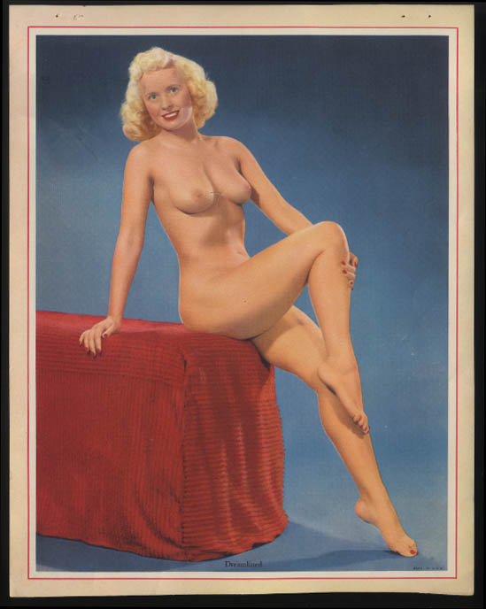 Dreamlined nude calendar sample sheet 1950s blonde seated on red corduroy