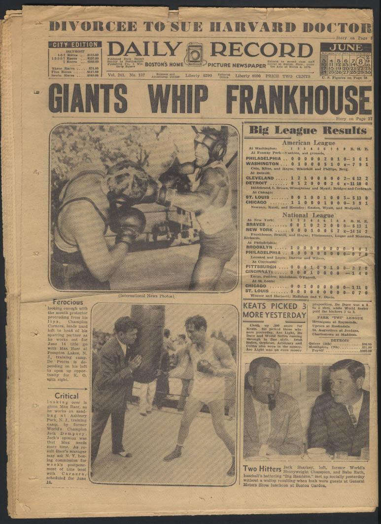 Boston DAILY RECORD 6/8 1934 Dillinger Jim Roosevelt Carnera-Baer Braves lose