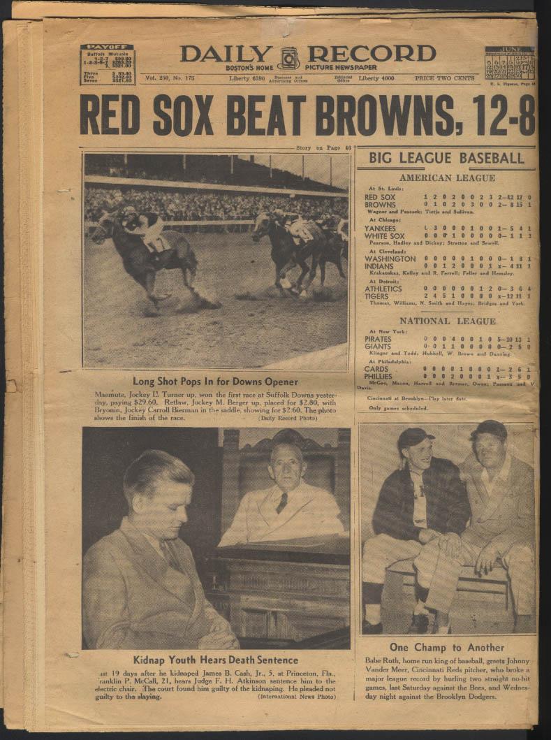 Boston DAILY RECORD 6/17 1938 John Roosevelt Sox win Louis-Schmeling