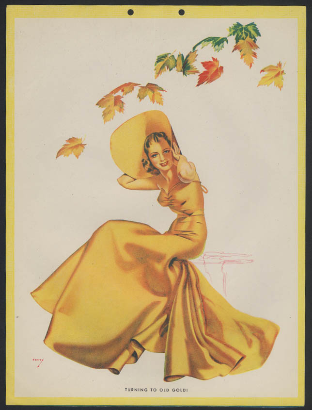 Turning to Old Gold! Petty Girl pin-up calendar print Old Gold 1939 yellow dress