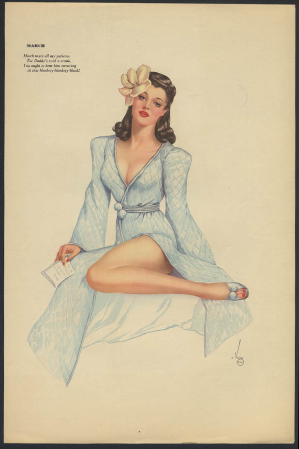 Varga Esquire 2-sided pin-up 3-4 1942 quilted robe / pigtails & lovebirds cage