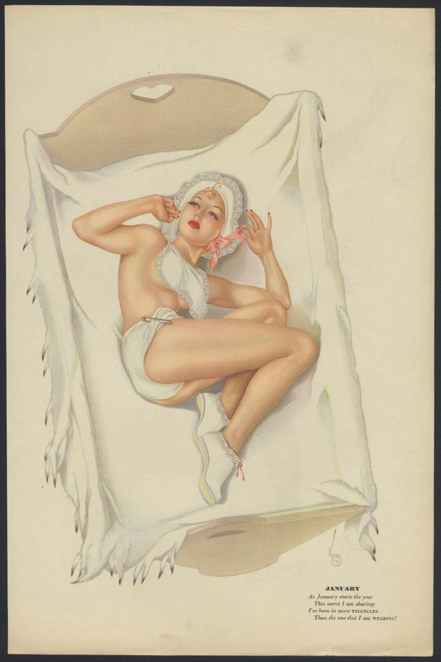 Varga Esquire 2-sided pin-up 1-2 1941 diapers & bonnet / ice-skating blonde