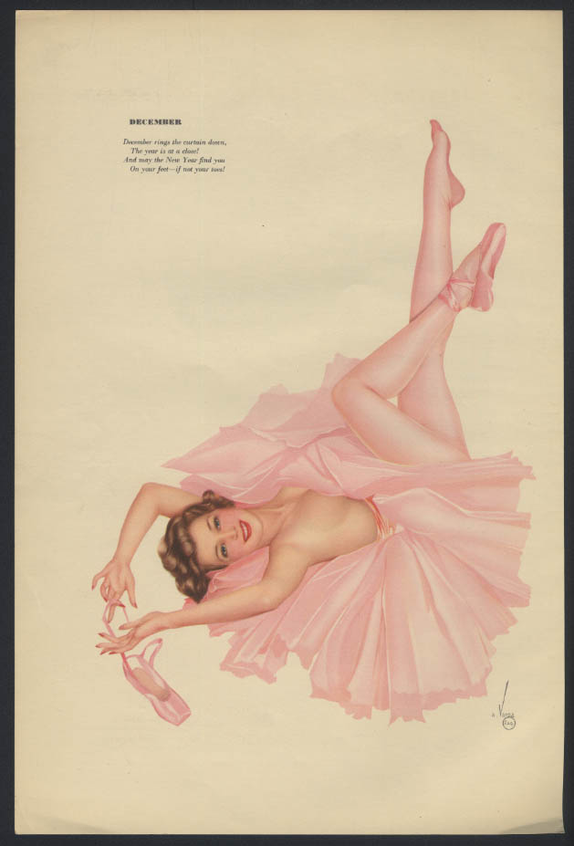 Varga Esquire 2-sided pin-up 11-12 1942 white sheath blonde / pink tutu