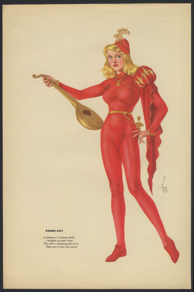 Varga Esquire 2-sided pin-up 1-2 1942 smoking blonde / red suit blonde troubador