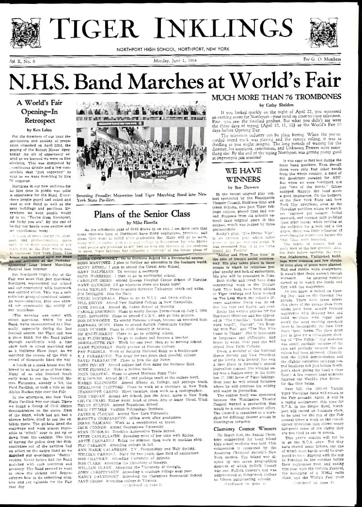 Northport High TIGER INKLINGS newspaper Band at New York World's Fair 6/1 1964