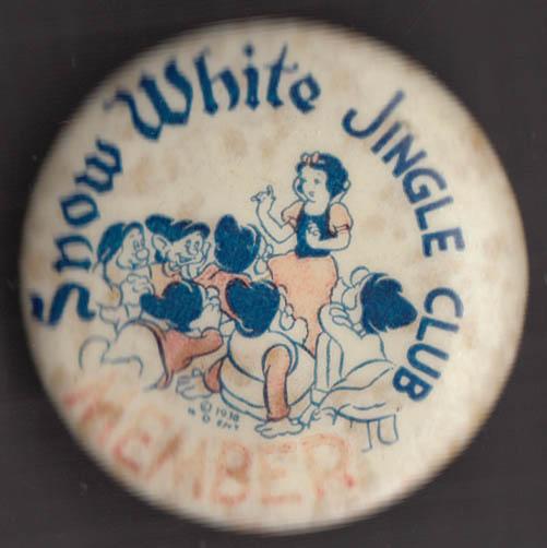 Snow White Jingle Club pinback 1938 Walt Disnet Enterprises
