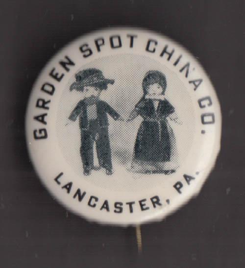 "Garden Spot China Co Lancaster PA Amish dolls pinback 1"" diameter"