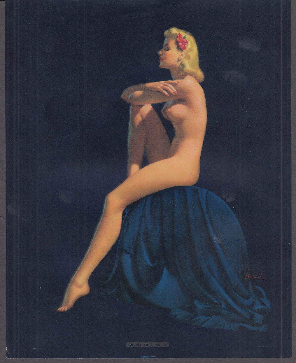 Al Buell Pin-up calendar sample sheet 1940s Lovely to Look At seated blonde nude
