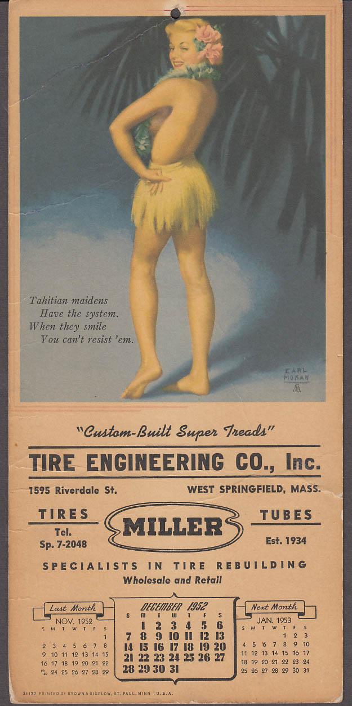 Earl Moran Tahitian pin-up calendar Tire Engineering W Spiringfield 1952
