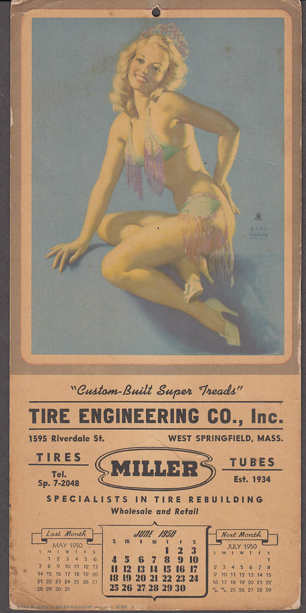 Earl Moran pin-up calendar fringed bikini Tire Engineering W Springfield 1950