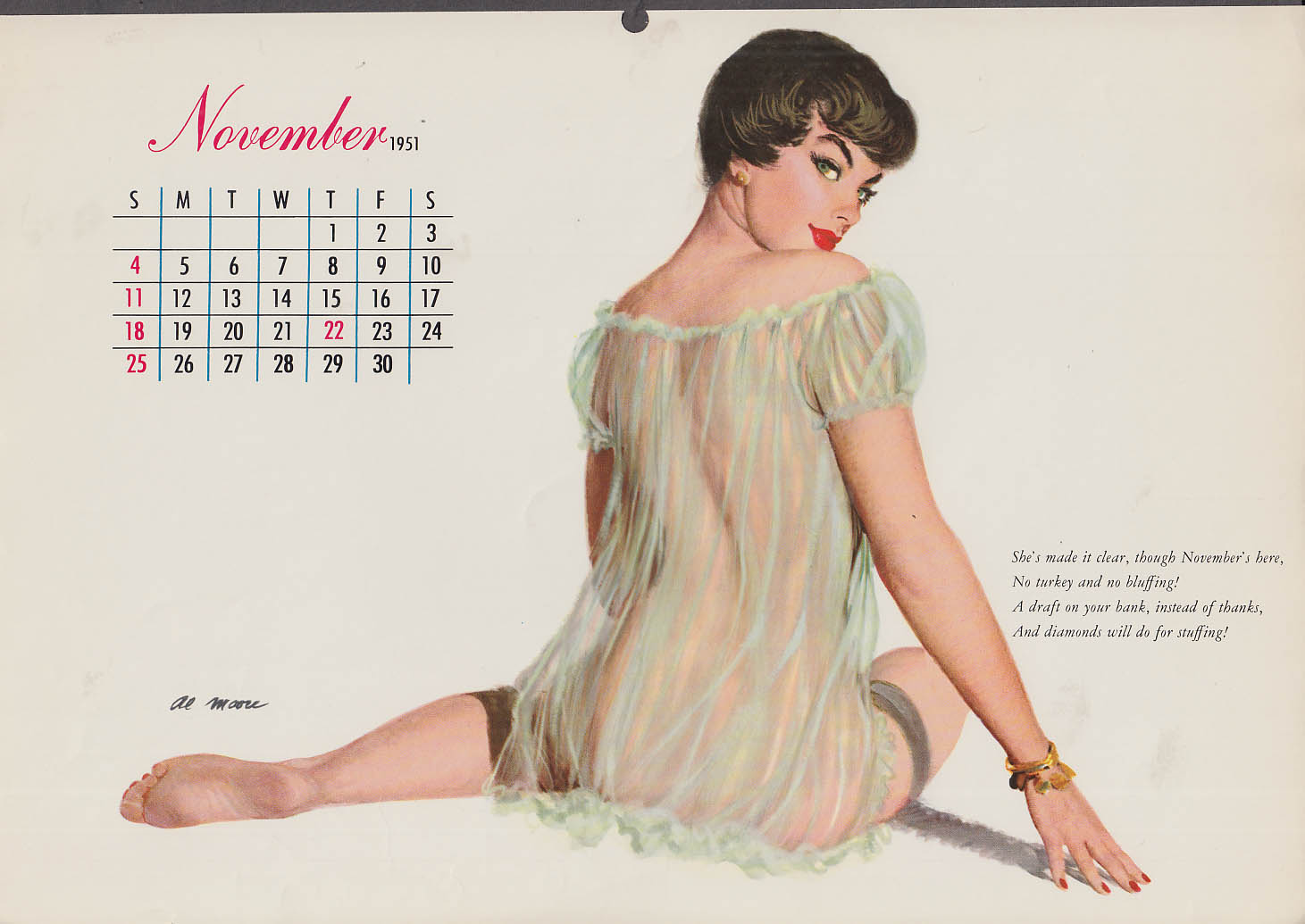 Al Moore pin-up calendar page 11 1951 see-thru negligee from behind