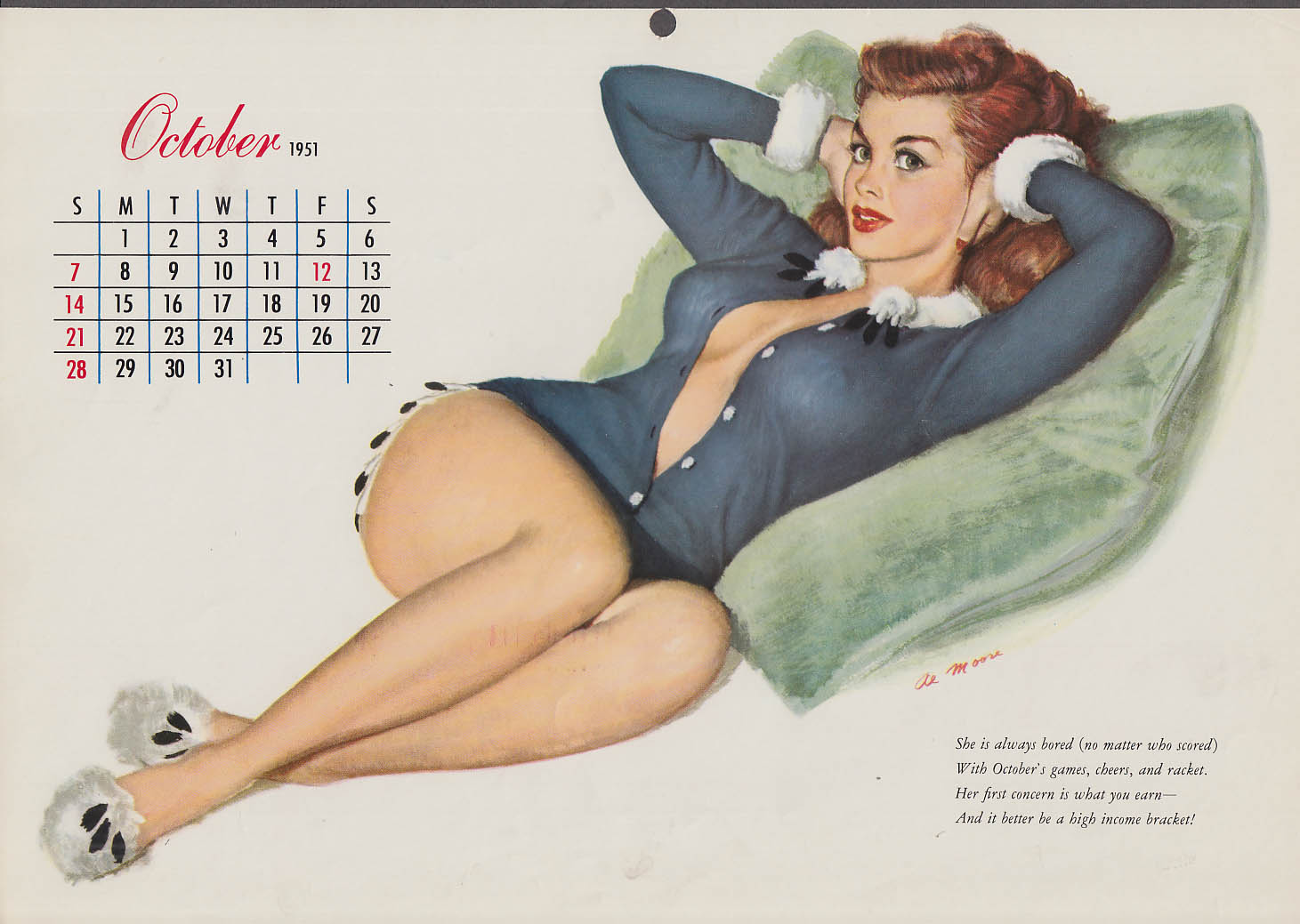 Al Moore pin-up calendar page 10 1951 redhead unbuttoned sweater on pillow