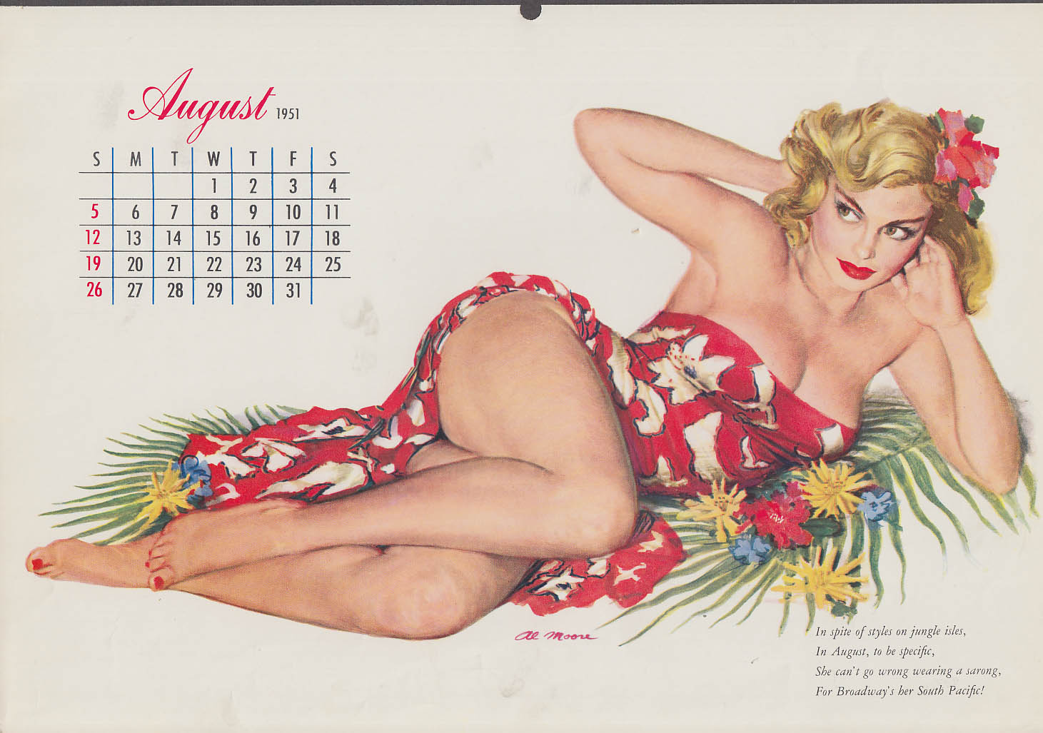 Al Moore pin-up calendar page 8 1951 blonde wahini in orchid wrap