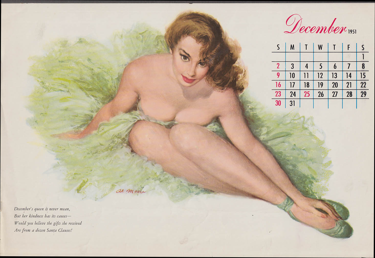 Al Moore pin-up calendar page 12 1951 brunette in green tutu shows cleavage