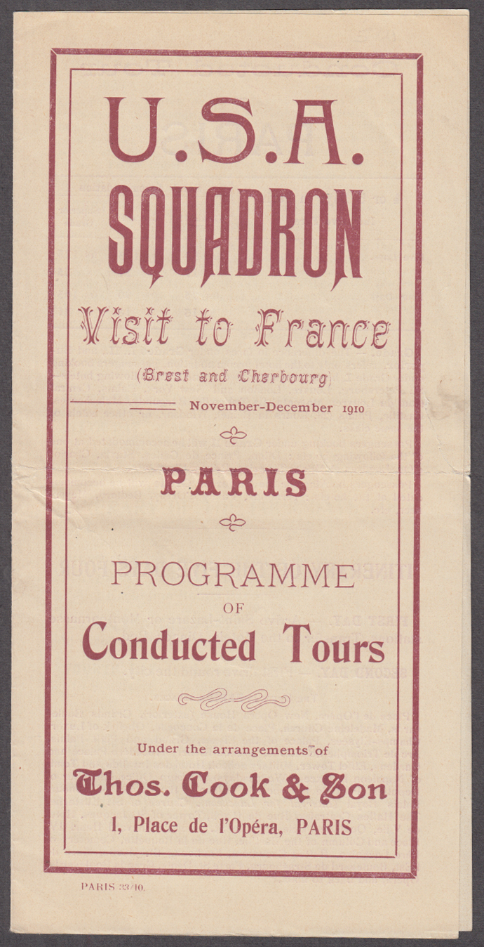U S A Squadron Visit to France 11-12 1910 Paris Conducted Tours folder