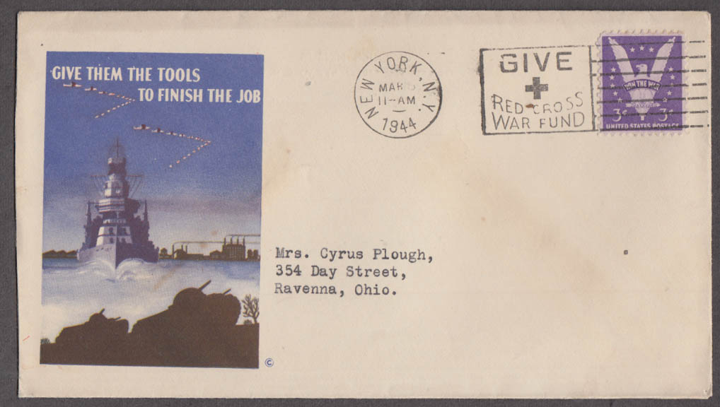 Give Them the Tools to Finish the Job patriotic postal cover 1944 battleship